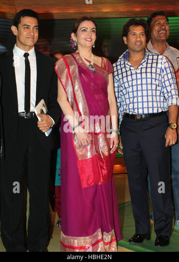 Bollywood actor Aamir Khan Nita Ambani Sachin Tendulka 5th edition of Real Heroes Awards Mumbai, India on March - Stock-Bilder