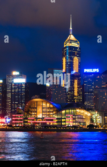 'The landmark Hong Kong Exhibition and Convention Centre on the shore of Victoria Harbour in Hong Kong' - Stock Image