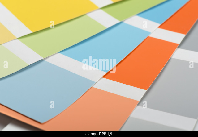 Samples of acrylic paint colors and shades - Stock Image