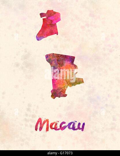 Macau in watercolor - Stock Image