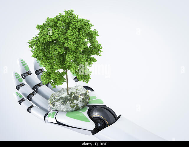 3D Rendering, robot hand holding tree - Stock Image