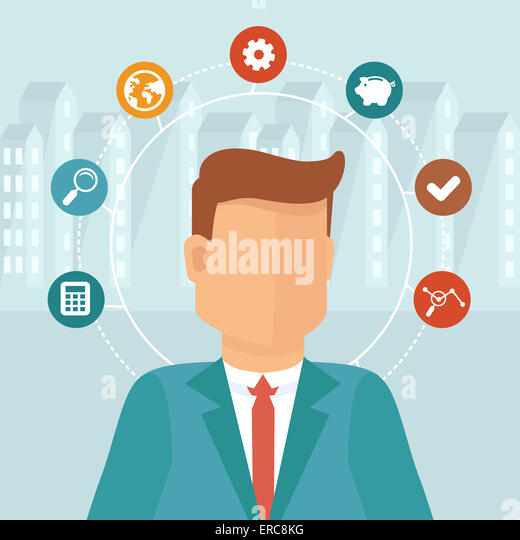 Manager concept in flat style - infographic design elements - Stock-Bilder