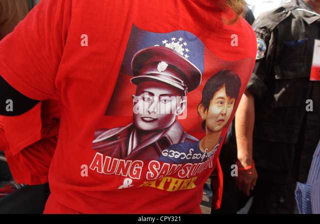 Portrait of Aung San Suu Kyi's father, General Aung San and Aung San Suu Kyi on T-shirt - Stock-Bilder