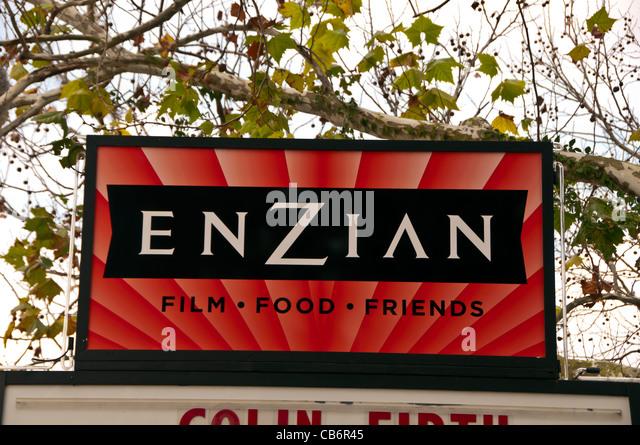 Enzian Theater sign, Orlando, Florida alternative movie house - Stock Image