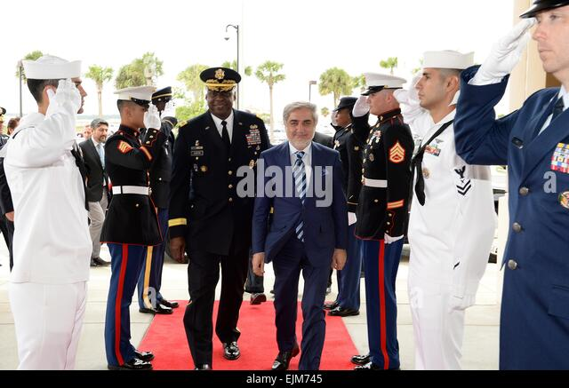US Central Command Commander Gen. Lloyd J. Austin III escorts Afghan Chief Executive Dr. Abdullah Abdullah through - Stock Image