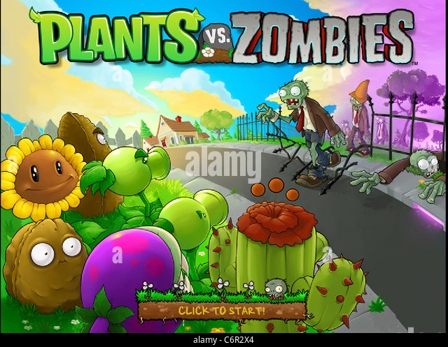 Plants vs Zombies PC game loading screen - Stock Image