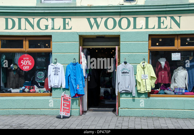 Exterior display of Dingle Woolen Company, Dingle town, County Kerry, Ireland - Stock Image