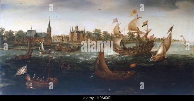 Schepen voor IJsselmonde - Ships before IJsselmonde (Aert Anthonisz.) - Stock Image