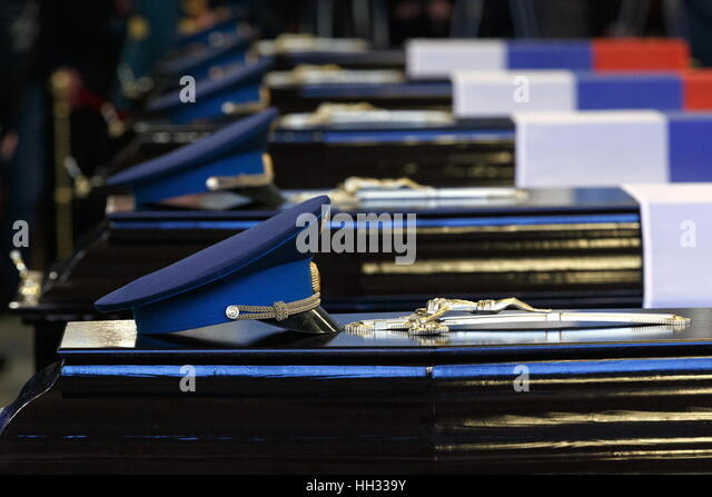 Moscow region, Russia. 16th January 2017. A farewell ceremony for Tupolev Tu-154 plane crash victims at the Federal - Stock Image