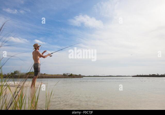 Mature man fishing, Fort Walton, Florida, USA - Stock Image