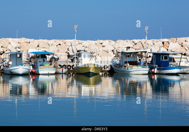 Fishing boats in Latchi harbour, Polis, Cyprus - Stock Image