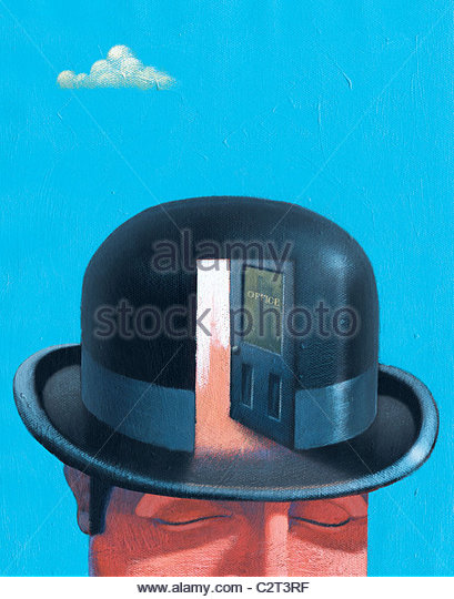 Businessman in bowler hat with open door - Stock Image