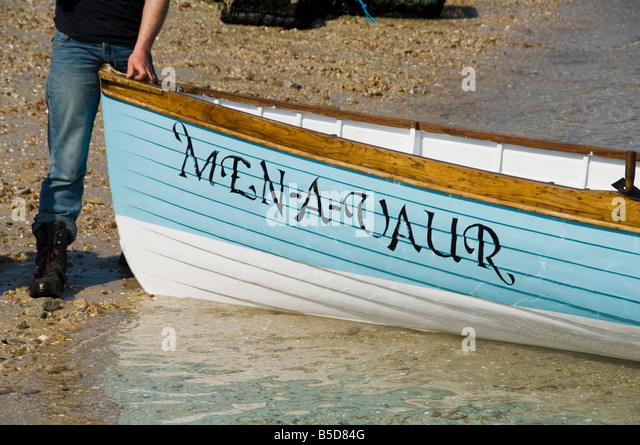 Men-A-Vaur racing gig, Bryer (Bryher), Isles of Scilly, off Cornwall, , Europe - Stock Image