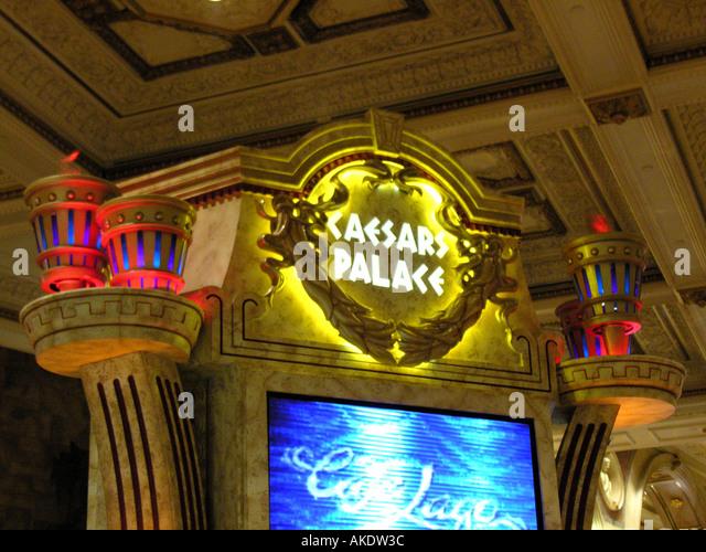 Las Vegas Nevada Las Vegas strip Caesars Palace Casino logo name torches - Stock Image