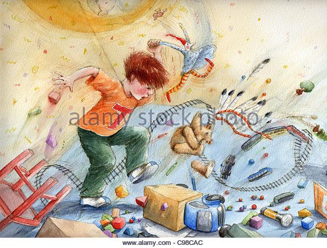 Tommi demolished be Children - Stock Image
