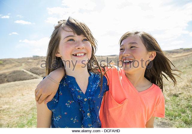 Portrait of little girls - Stock Image