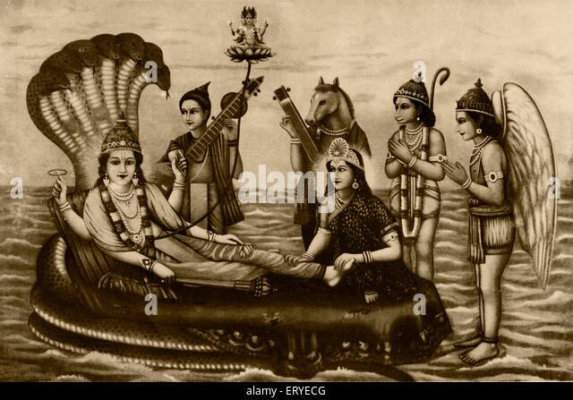 Heritage old picture postcard ; 1935 mythology Brahma Vishnu Laxmi on Sheshnag ; Bombay Mumbai ; Maharashtra ; India - Stock Image