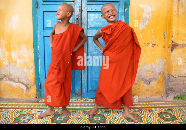 Buddhist monks having fun at the monastery, Cambodia - Stock Image
