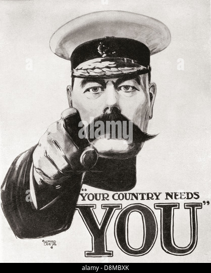 Your Country Needs You. Famous Kitchener World War One recruitment poster. - Stock Image