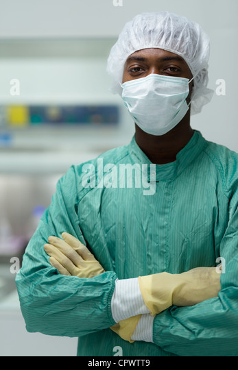 Portrait of man working as researcher in biotechnology industry - Stock Image