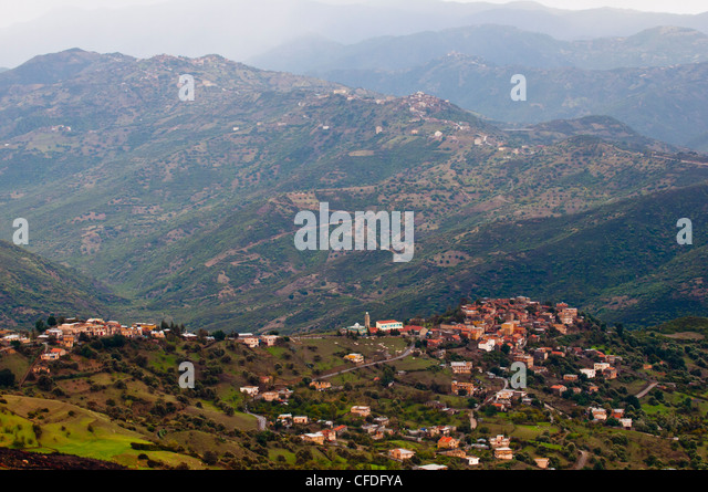Small mountain villages in the mountains of the Kabylia, Algeria, North Africa, Africa - Stock Image