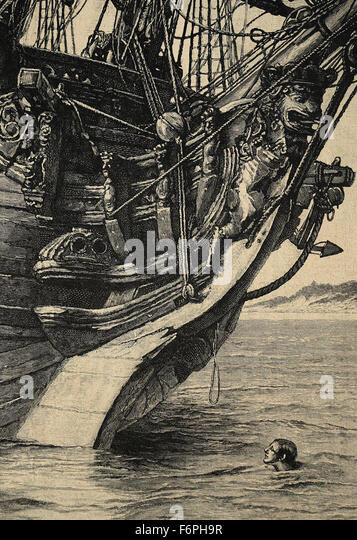 Robinson Crusoe. Novel by Daniel Defoe, published, 1719. 'I spied a small piece of rope'. Illustrated by - Stock Image