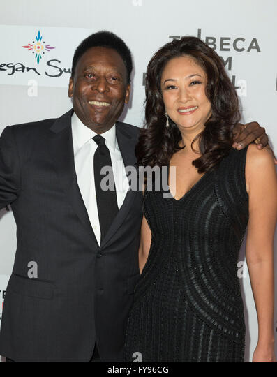 New York, USA. 23rd April, 2016. Pele and Marcia Aoki attend Tribeca Film Festival premiere of Pele: Birth of a - Stock Image