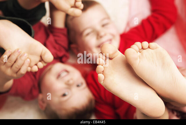 Blurred portrait of two cute brothers - Stock Image