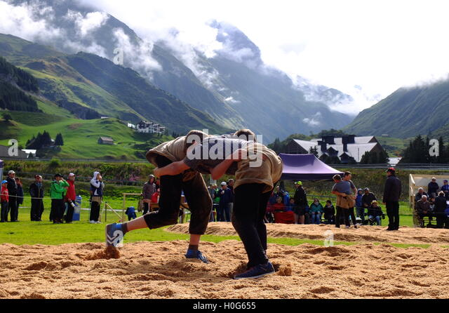swiss traditional wrestling - Stock Image