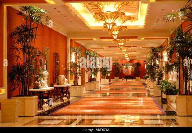 Las Vegas Nevada Wynn Hotel interior hallway - Stock Image