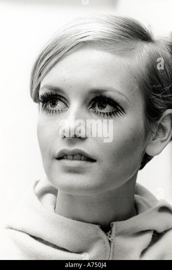 TWIGGY  - UK fashion model wearing design by Jeff Banks in May 1967.  Photo Tony Gale - Stock Image