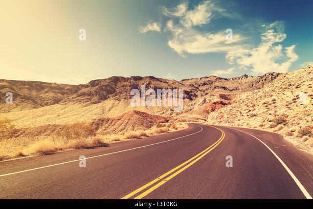 Vintage style USA country highway, travel concept. - Stock-Bilder