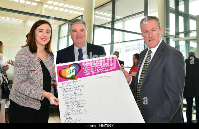 Armagh City, UK. 15th February 2017. Sinn Féin Election Candidates Megan Fearon, Cathal Boylan and Conor Murphy - Stock Image