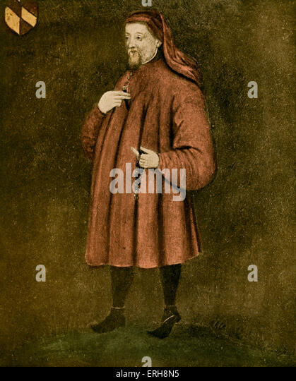 Geoffrey Chaucer - portrait. .   English author, poet and philosopher: c 1343 – October 25, 1400 - Stock Image