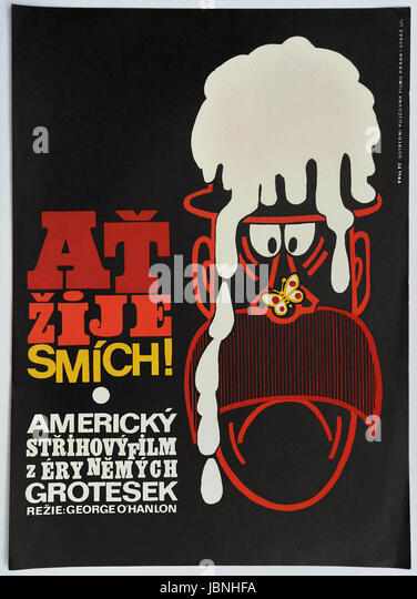 Anything For Laughts. Original Czechoslovak movie poster, 1975. American comedy of George O'Hanlon, 1951. - Stock Image