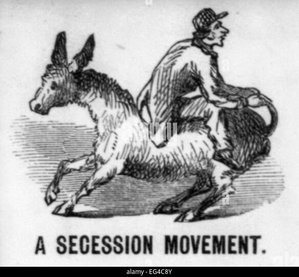 Illustrated Civil War 'Union Envelopes': A Secession Movement - Riding jackass backwards. USA Civil War - Stock Image