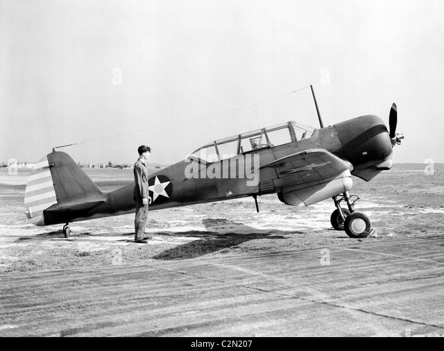 Curtiss-Wright CW-22 was a 1940s American general-purpose advanced training monoplane aircraft. Curtiss SNC-1 Falcon. - Stock Image