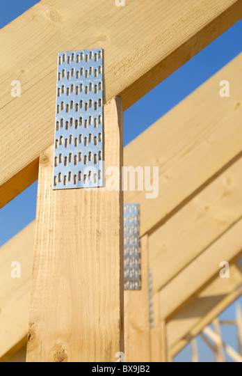 Roof trusses detail - Stock Image