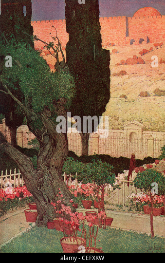 "Plate 5, ""The Garden of Gethsemane,"" by Jules Guerin, 1920, J. H. Jansen, Cleveland, Publisher. - Stock Image"