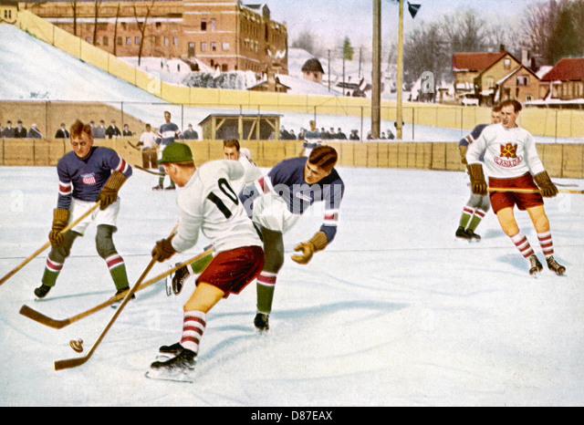 Olympics 1932 Ice Hockey - Stock Image