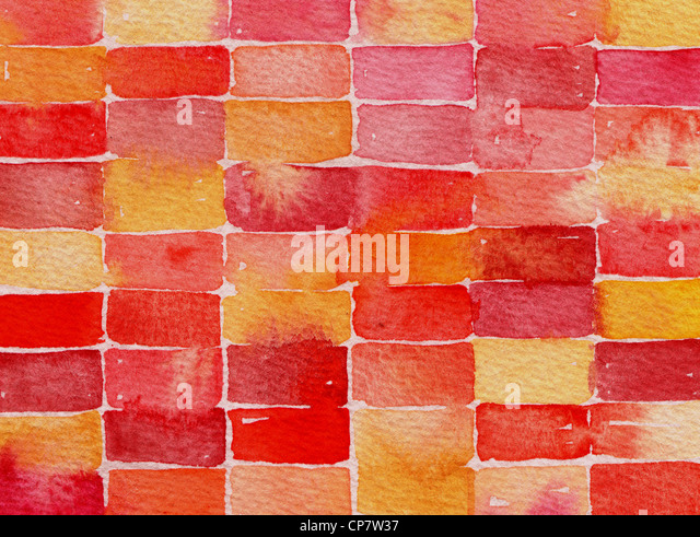 Red and yellow abstract watercolor painting suitable for use as a textured background. - Stock Image