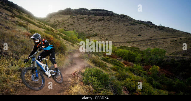 USA, Colorado, Jefferson County, Golden, Mountain biker rides down leaving cloud of dust - Stock-Bilder