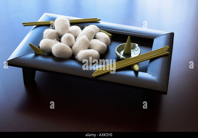 silk worm cocoon white green gormet food foreign white fuzz puff stick wood dish tray plate low stand day eat consumption - Stock Image