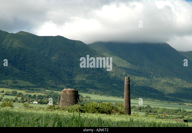St Kitts West Indies Caribbean Mt Liamuiga Old Sugar Mill factory - Stock Image