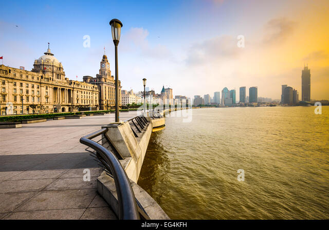 Shanghai, China cityscape at the Bund. - Stock Image