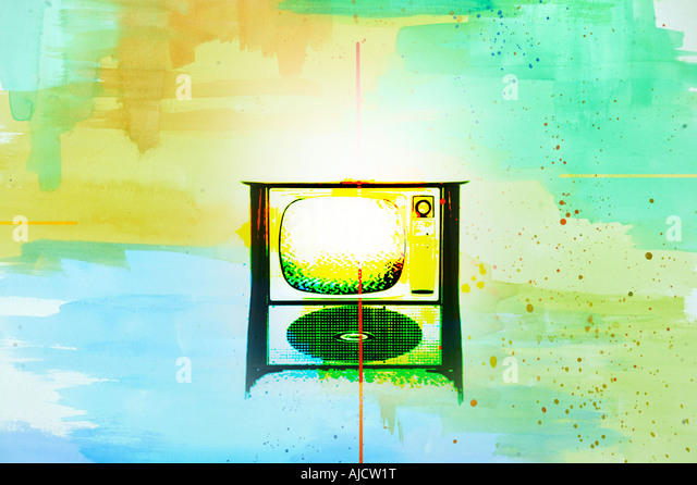 vintage TV antique vintage old tv television in surreal photo illustration - Stock Image