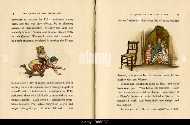 Two Illustrations  The Queen Of The Pirate Isle - Stock-Bilder