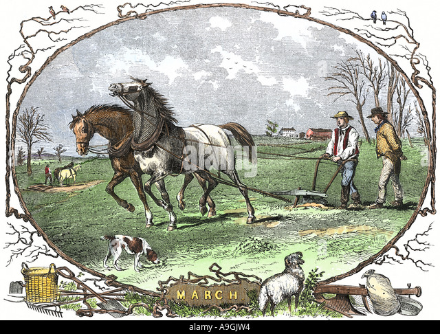 Pair of horses pulling a plow a calendar illustration for the month of March 1850s - Stock Image