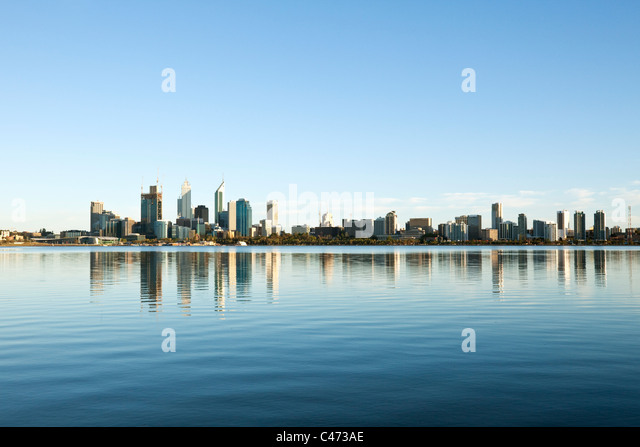 View across Swan River to city skyline. Perth, Western Australia, Australia - Stock Image