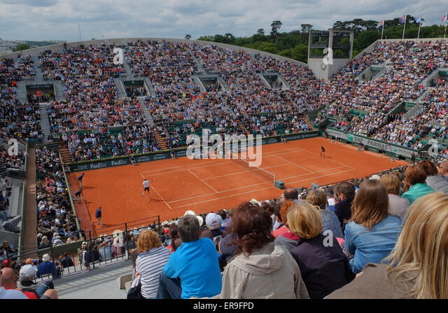 Paris France. 29th May, 2015. At Roland Garros French Open, Paris. Suzanne Lenglen Court. Two French players, Giles - Stock Image
